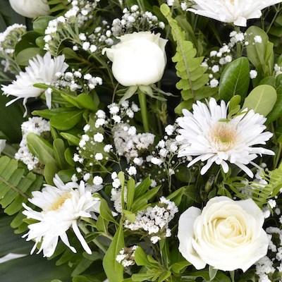 Conquistador - arreglo de crisantemos y rosas blancas