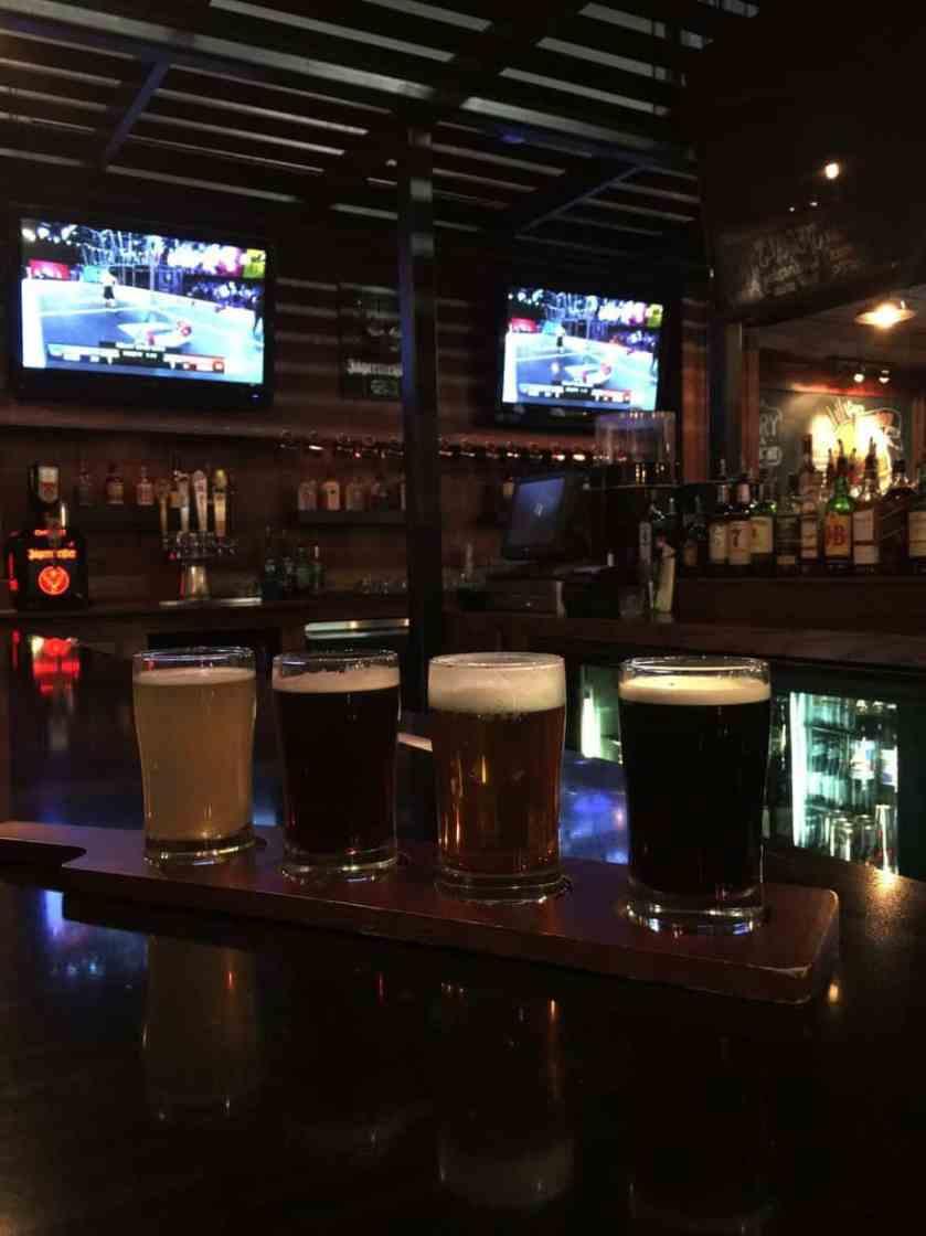 Beer Flight: Upland (Belgium white beer), Robert The Bruce (Scottish Ale), New Holland Hoptronix (IPA),and Boulder Shake Chocolate Porter