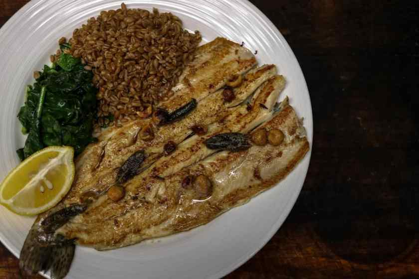 Rainbow Trout: brown butter, hazelnuts, and sage with sauteed spinach and farro.....  My favorite dish; the trout is super-fresh!!!