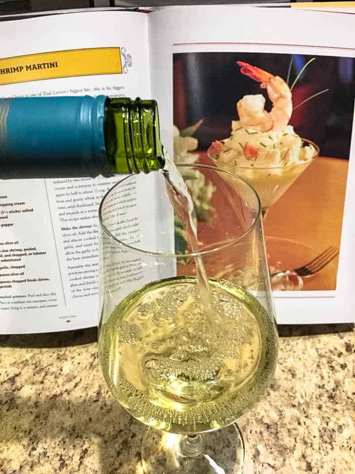 A glass of wine is part of my cooking prep!