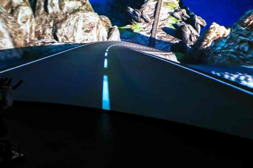 Cycmode's 40-foot, curved projections screen