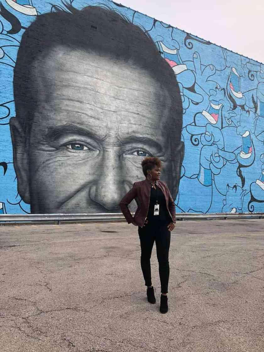 Robin Williams mural located in Chicago's Logan Square