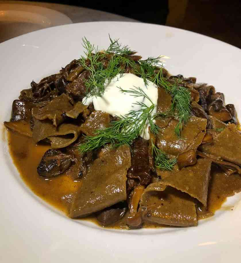 Porchini Pappadelle: braised oxtail, glazed mushrooms, creme fraiche, lemon zest, herbs