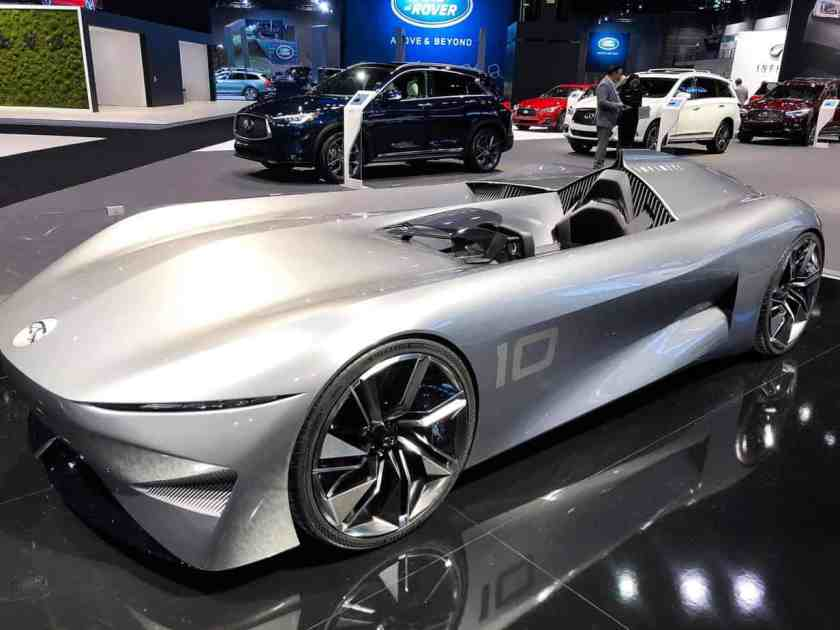 Gray Infiniti 10 concept car on showroom floor