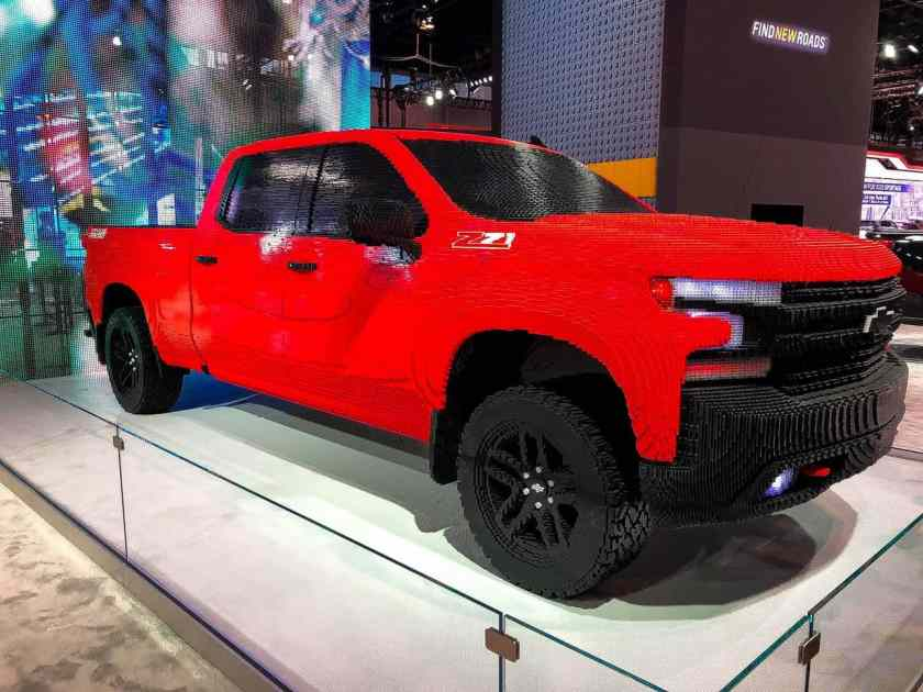 Red Chevy Silverado truck built out of LEGOS