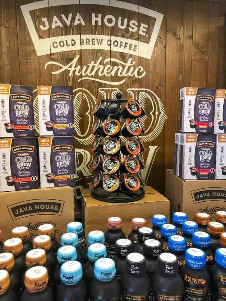 Java House coffee k-cups and cold brew bottles