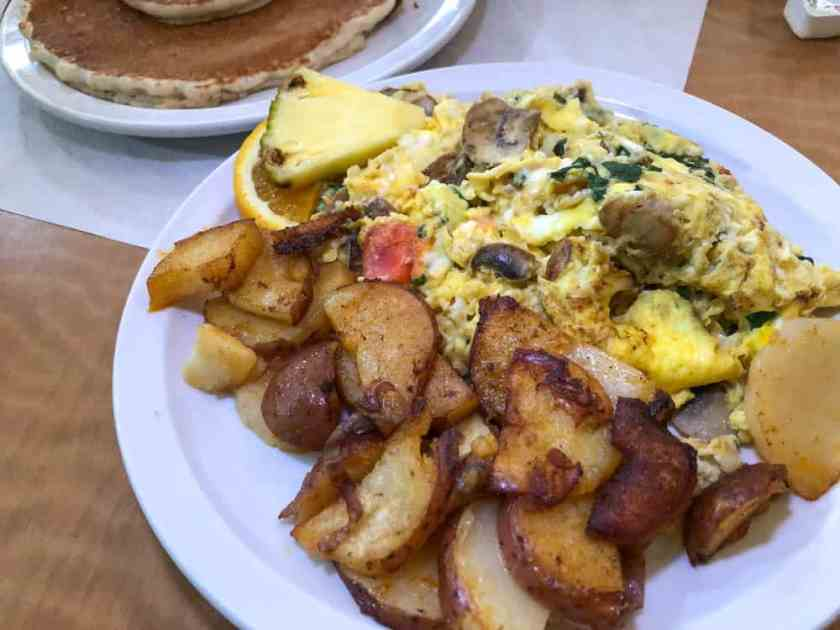 plate of eggs and potatoes