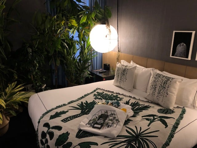 Bed in hotel room featuring foliage