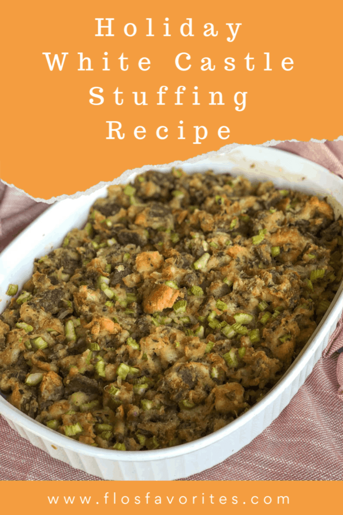 White Castle turkey stuffing in casserole dish
