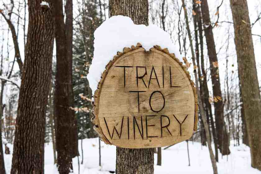 Sign that reads trail to winery on Southwest Michigan wine trail