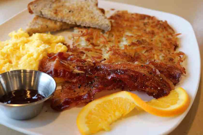 Happy Scramble at Third Coast Spice Cafe:  eggs, bacon, hash browns, and toast