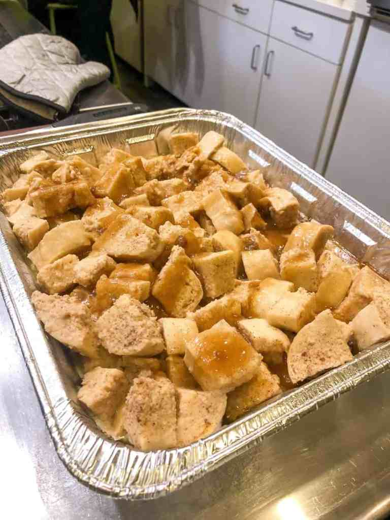 French Toast cubes in a casserole dish