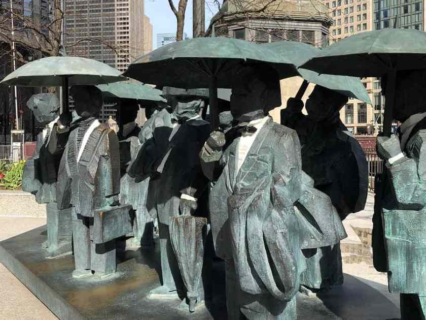 Chicago Public Art statues, gentlemen holding umbrellas