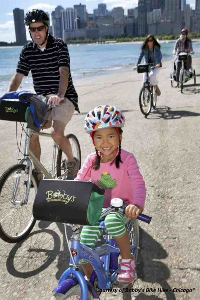 Family biking along the Chicago Lakefront Path