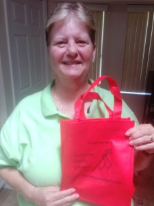 Karen with red bag