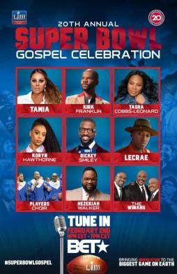 20th Annual Super Bowl Gospel Celebration to Air on BET featiring Kirk Franklin, Tasha Cobbs Leonard, The Winans & Others