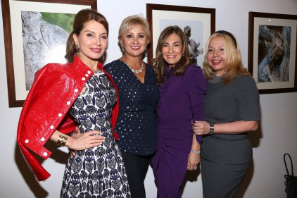 NEW YORK, NY - JANUARY 24: Jean Shafiroff, Ana Stone, Maria Fishel and Adele Nino attend Cocktails To Benefit Global Strays And A Private Showing Of Modern Images Of The Natural World at Novo Locale on January 24, 2019 in New York. (Photo by Sylvain Gaboury/PMC) *** Local Caption *** Jean Shafiroff;Ana Stone;Maria Fishel;Adele Nino