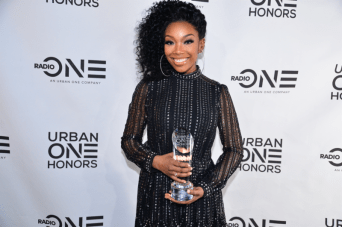 Honoree Brandy poses for a photo after receiving her award at the Urban One HonorsPhoto Credit: Antoine DeBrill