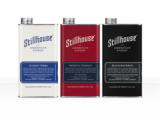Stillhouse Classic Vodka, Stillhouse Original Whiskey, Stillhouse Black Bourbon on White Background - Courtesy of Stillhouse Spirits Co