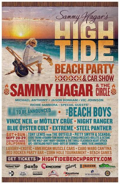 "Sammy Hagar Announces Lineup For Second ""High Tide Beach Party & Car Show"" In Huntington Beach, California"