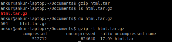 Compress your files using tar and gzip utility (2/5)