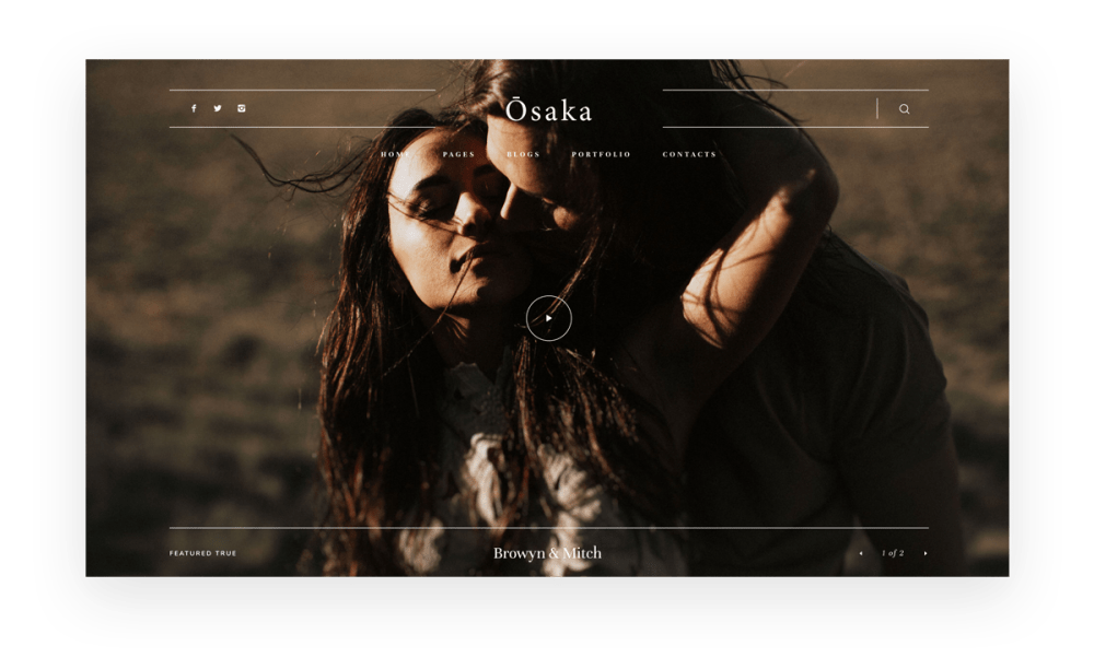 Osaka - Best Website Theme for Storytellers & Bloggers, India Earl photography, Flothemes websites for photographers, video options in slider