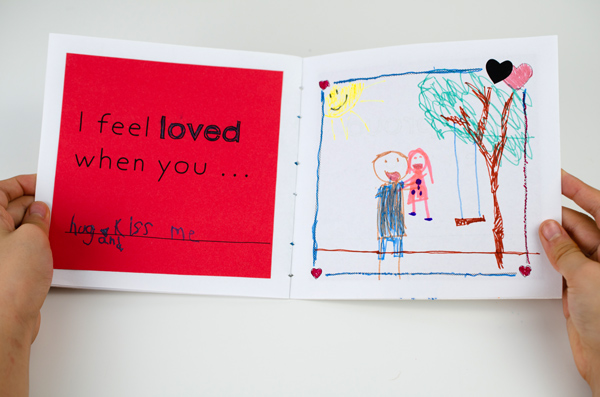 """Book with drawing that reads """"I feel loved when you..."""""""