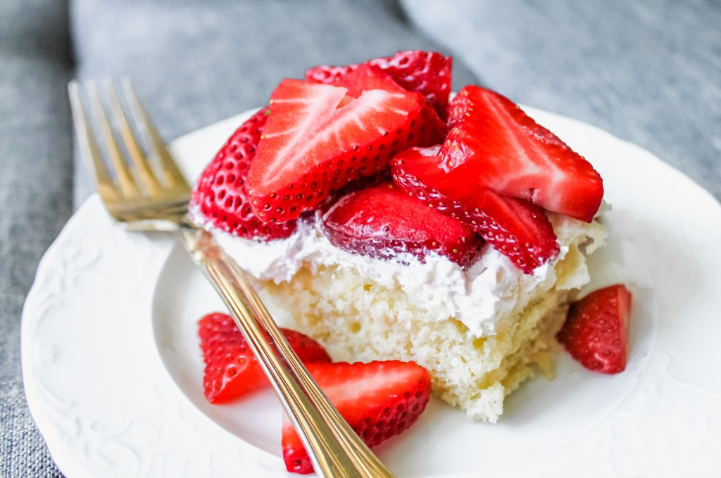 Strawberry Shortcake Bars with Whipped Cream Cheese Frosting