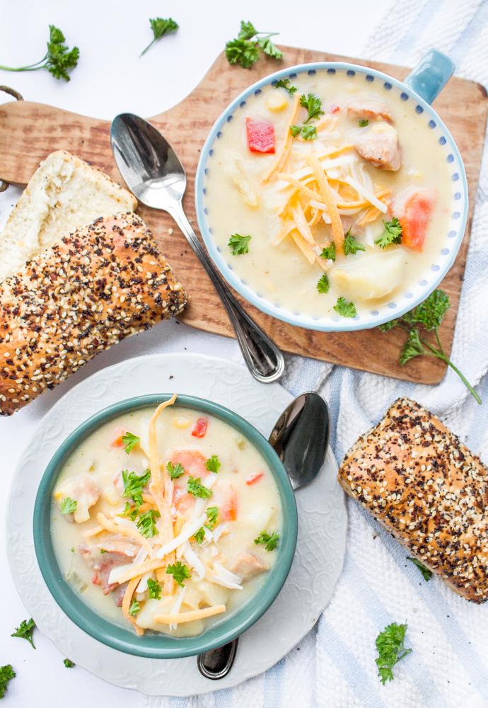 Farmer Sausage Corn Chowder Soup Potatoes Vegetables