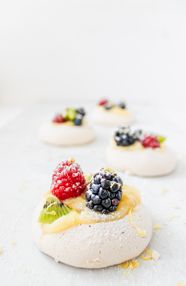 Mini Berry Pavlovas with Whipped Mascarpone and Lemon Curd