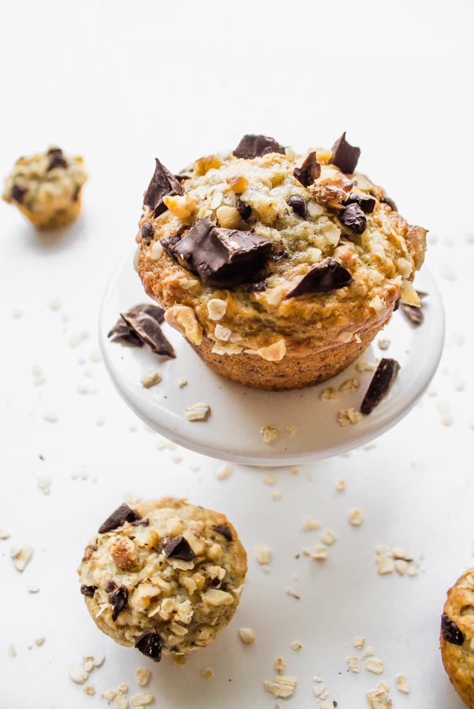 Banana Oat Chocolate Chunk Muffins Recipe Flour & Floral