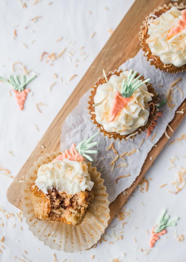Carrot Cake Cupcakes white chocolate toasted coconut dessert recipe tutorial