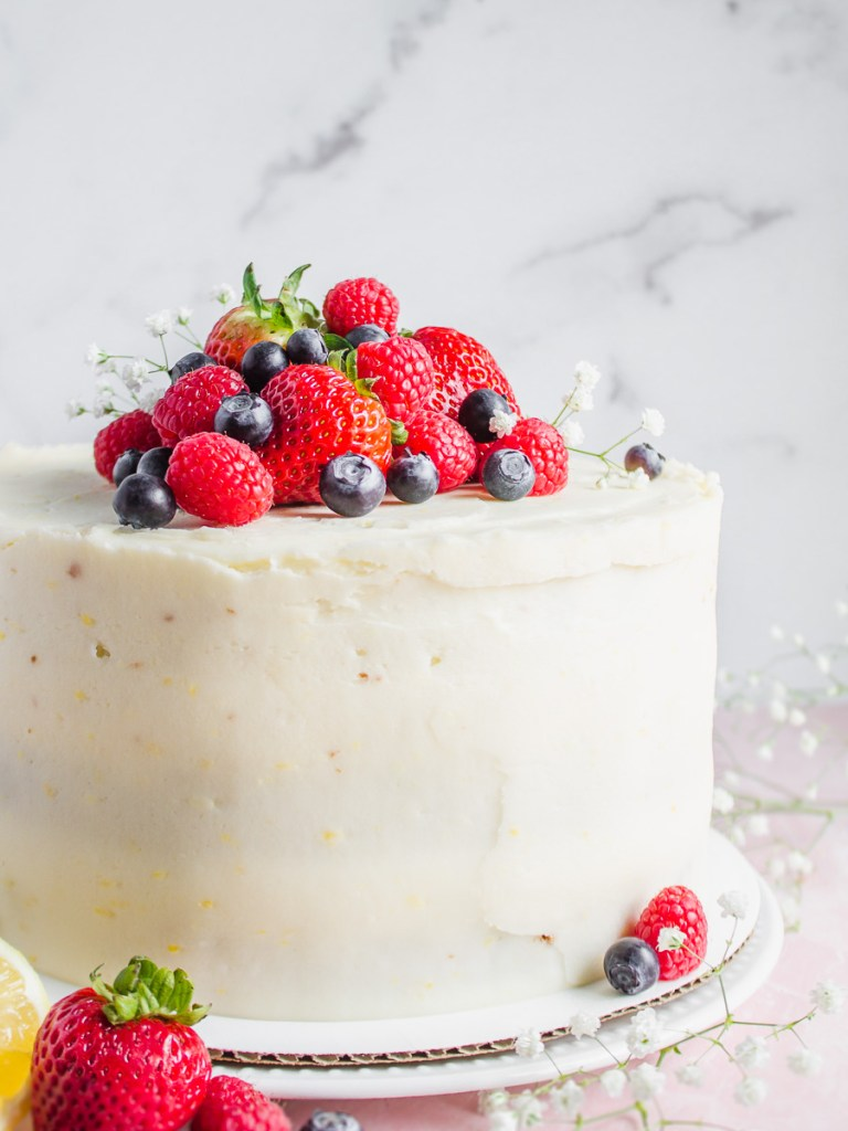 Vanilla Butter Cake with Lemon Cream and Berries