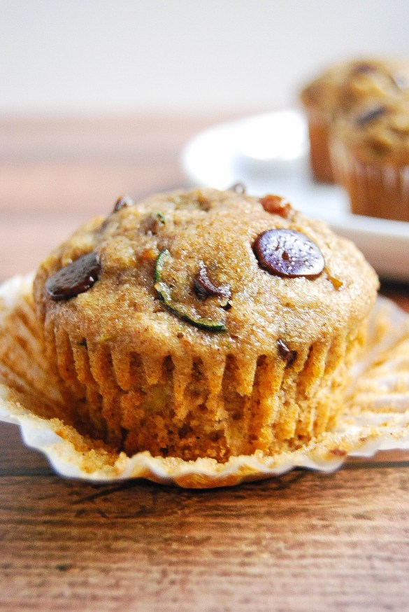 Healthy chocolate cherry zucchini muffins with just a touch of sweetness