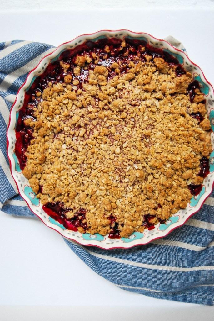 Cherry rhubarb crisp - Flour Covered Apron