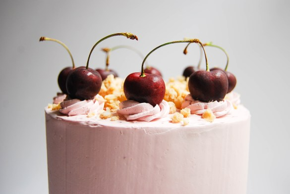 Fresh cherries make the perfect garnish for this cherry crisp layer cake - Flour Covered Apron