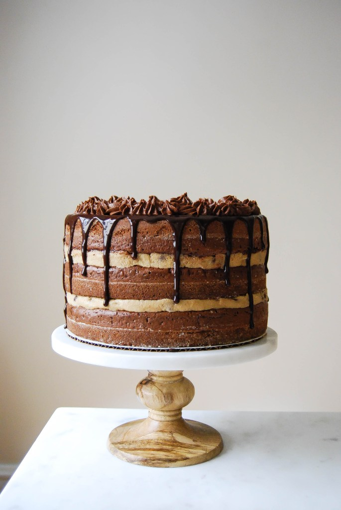 Gluten Free Chocolate Chip Cookie Dough Brownie Cake with Chocolate Ganache Frosting - Flour Covered Apron