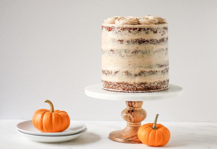 A six layer pumpkin carrot cake is the perfect fall dessert