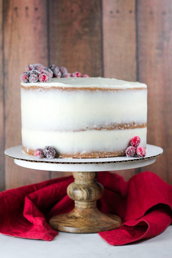 Cranberry Apple Cake with Crea