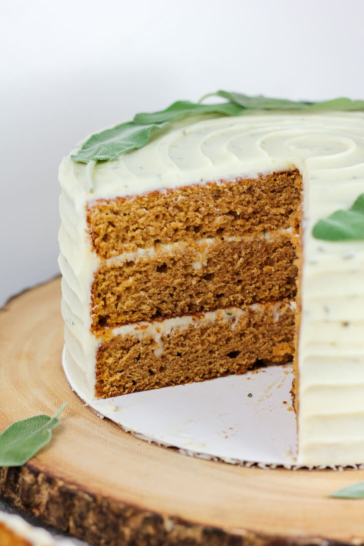 Three layers of sweet potato cake frosted with brown butter sage frosting