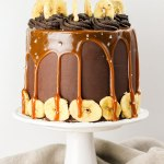 Dark Chocolate and Salted Caramel Banana Layer Cake - Flour Covered Apron