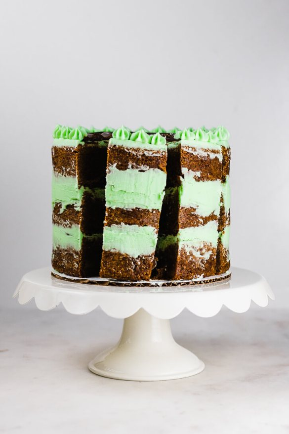 Mom's Chocolate Mint Brownie Cake Recipe - Flour Covered Apron