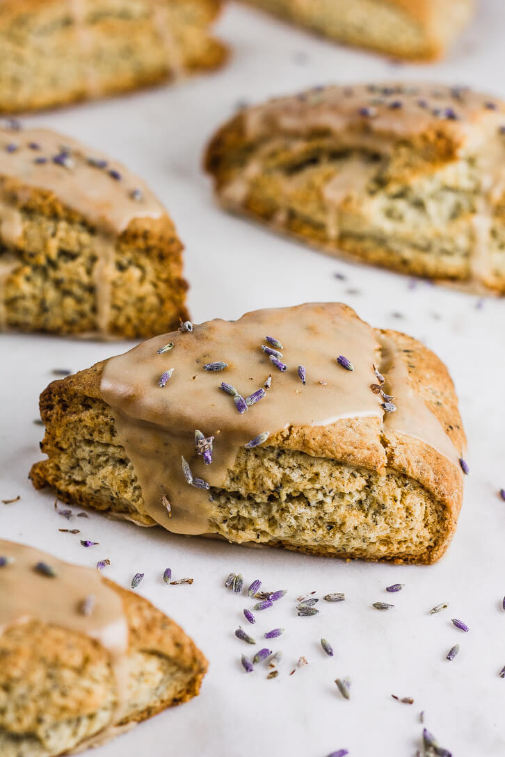 A perfect recipe for breakfast or afternoon tea, these buttery Earl Grey scones are iced with a lavender and Earl Grey tea infused glaze.