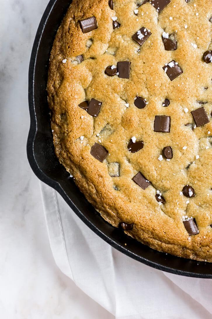 Nutella Stuffed Skillet Cookie sprinkled with flaky sea salt