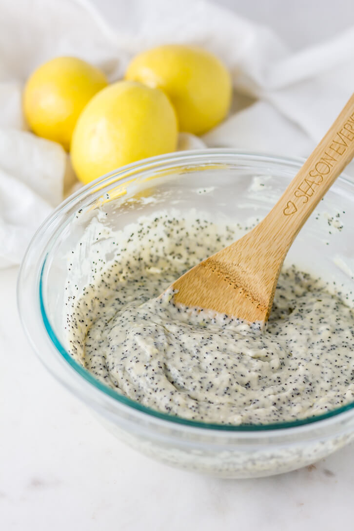 A vegan lemon poppy seed batter for oven-baked donuts - Flour Covered Apron