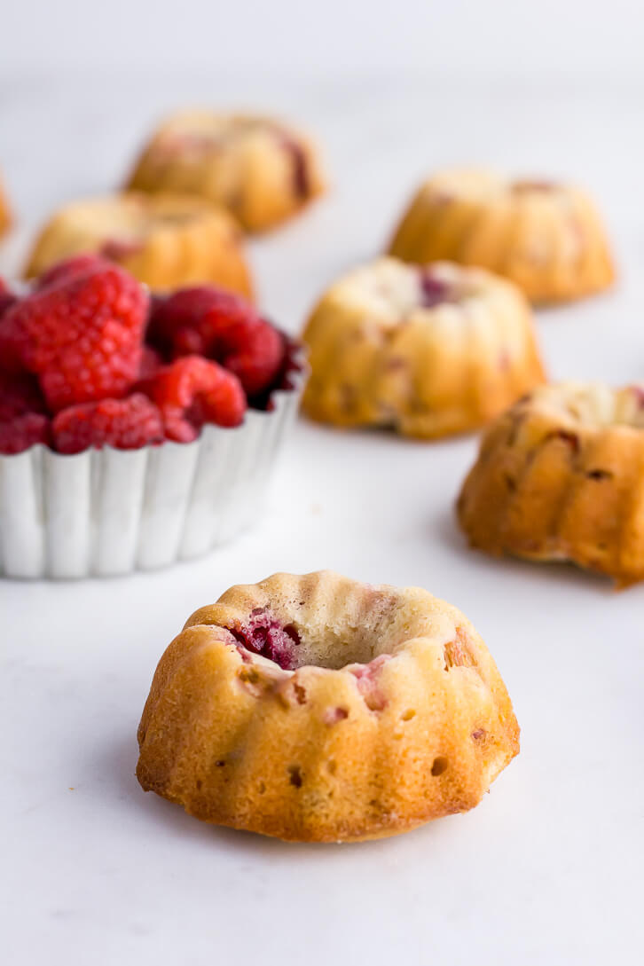 Raspberries give these raspberry rhubarb mini bundt cakes a burst of color