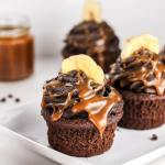 Triple Chocolate Banana Cupcakes with Dark Chocolate Buttercream and Homemade Caramel Sauce | Flour Covered Apron