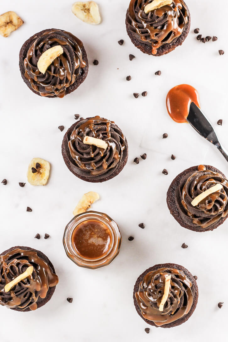 Make a jar of your own homemade caramel sauce for drizzling on top of these triple chocolate banana cupcakes with dark chocolate buttercream!