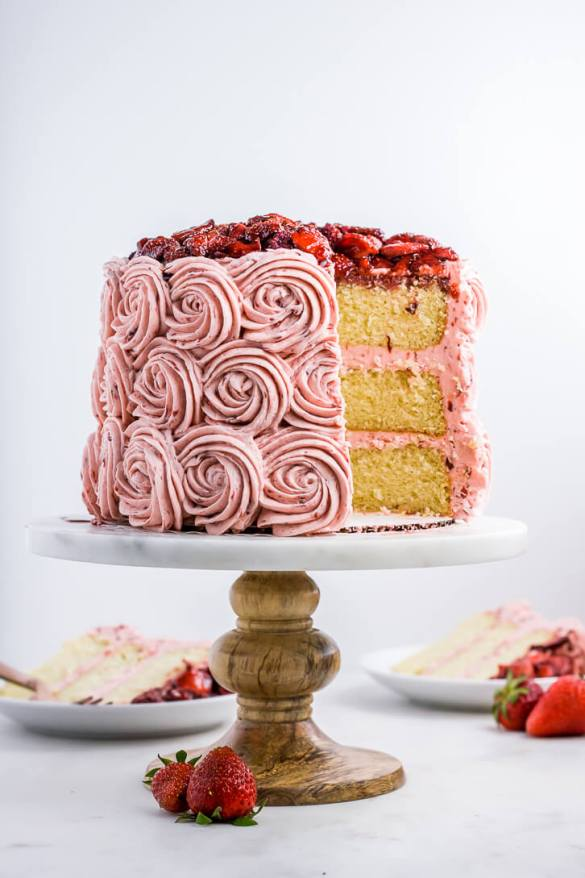 Vanilla Bean Layer Cake + Balsamic Roasted Strawberry Buttercream | Flour Covered Apron