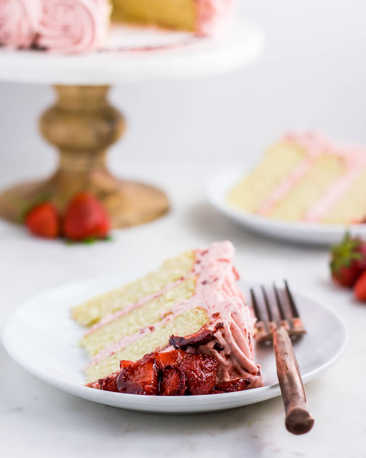 Recipe for vanilla bean layer cake with balsamic roasted strawberry buttercream | Flour Covered Apron